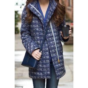 j crew blue tweed cocoon full zip pea coat